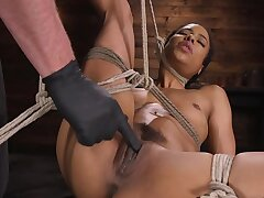 Ebony girl gets confined up and used by her white dextrous