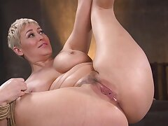Curvaceous lady is bound unconcealed and she is unsystematically be fucked