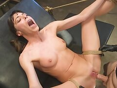 Petite bird is tied to the chair and fucked hard by turn this way gifted dude