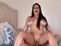 Anal sex fucking operation with three amazing bootylicious brunette