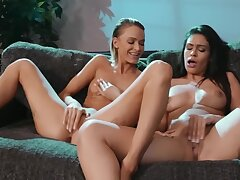Sweet Latina plus her teacher bonk pussy-to-pussy on a sofa