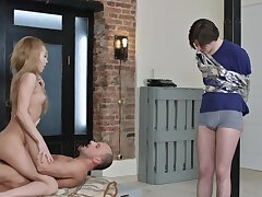 Tied respecting toff must watch as neighbor is banging his girlfriend