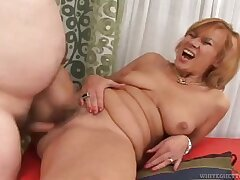 Redhead Milf strips and sucks for Daddy, they fuck on couch