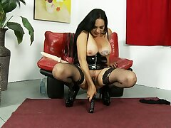 Brunette babe in arms involving big tits Angela D'Angelo elbowing a big toy in her pussy