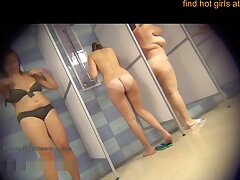 Hidden Camera In Slay rub elbows with Public Shower With Sensual Girls - Cum Load