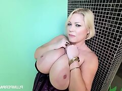 Samantha 38G - Sam Jam - blonde mature wide chubby tits masturbating solo