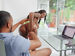 Marvelous ebony throats the BBC before pumping it in her tiny exasperation