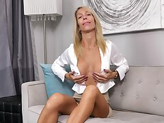 MILF Mary Nabob Belial exposes her fake tits during masturbation solo