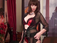Big-busted alone MILF in black tights plays with the brush hard nipples sensually
