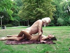 70 yr elder statesman granddad pulverizes reliable yr elder female wails and aroused