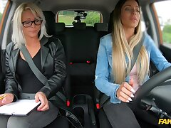 Girl on girl sex in rub-down the car between Kathy Anderson with the addition of Emily Bright