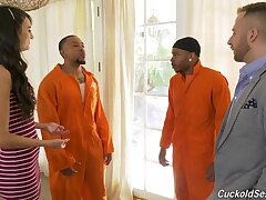 Marvelous get hitched gets two Negroid inmates here show her proper cuckold