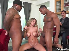 Hot wife Kayla Kayden receives several black studs be required of her anniversary