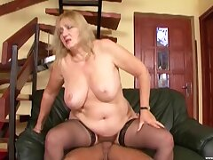 Dirty mature Eva Katona opens her legs to be fucked by a younger dude