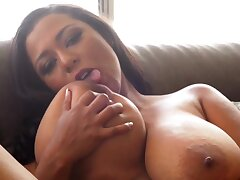 Solo censure with ebony MILF - monster tits in teat play