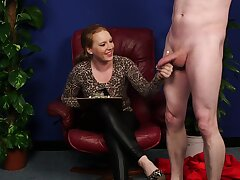 Clothed grown up loves seeing the man spastic for her