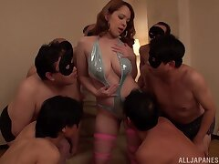 Voluptuous chick shared by a vast to each of fuck men