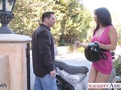 Low-spirited motorcycle lady Jayden Jaymes seduces just married man