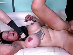 This MILF with huge pair gets throat fucked to her limit at Facial