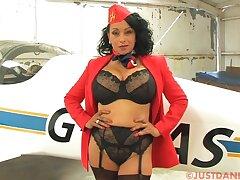 Video of mischievous distressing stewardess Danica Collins pleasuring her cunt