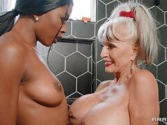 Dirty mature Sally D'angelo shares a dick with ebony Nicole Kitt