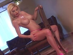 Sexy blonde woman, Caylian Curtis is unattended masturbating