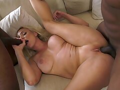 Staggering blonde shakes them huge dismal dicks like a pro