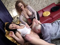 Layman mature couple invited over a younger bimbo for a threesome