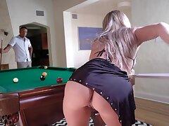 Blond slut Tucker Stevens gets fucked right on the billiard table