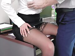 Sexiest babe Brooklyn Chase is fucked in the first place the table in the office