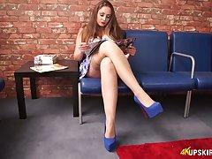 Slutty babe Sophia Delane shows off her yummy slit upskirt