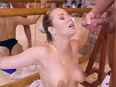 Busty ballerina has a lot of inches to play with