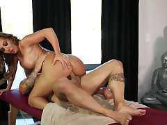 Woman receives massage and cock in amazing scenery