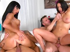 Cock swapping porn delight with two amazing divas