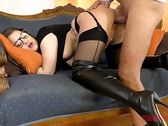 Sexy leggy babe in black overcrowd Angelina Brill wanna be poked doggy