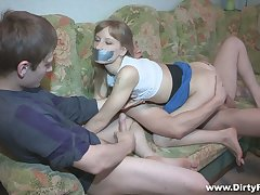 Lacklustre gal Sonja gets blindfolded and fucked doggy really at the end of one's tether BF's connect with