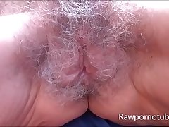Mature granny with saggy tits gets the brush hairy pussy pounded hardcore