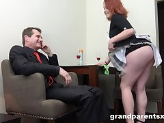 Gaffer and horny ladies are ready for unforgettable threesome almost the office