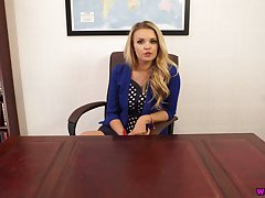 Blond headmistress Ashley Jayne gets unclothed and shows off her boobies and tits