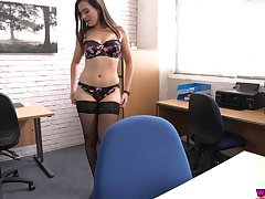 Eye catching secretary Charlie Rose shows hot striptease in the office