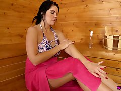 Alone saleable lady Kylie K plays with twat and boobies in the sauna