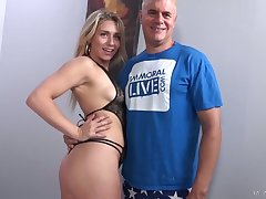 Getting discharged black stuff hottie Mickey Tyler gives stud impressive blowjob