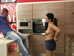 mature brunette Erika Zahar craving for hard and fat friend's penis