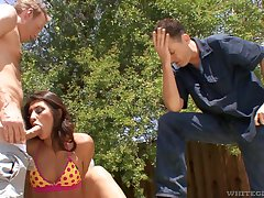A.J. Estrada enjoys lady-love with a horny guy while her boyfriend watches