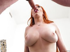 Lauren Phillips gives a bedraggled blowjob from her knees
