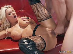 Brittany Andrews gets the brush pussy banged in all possible poses by a dude