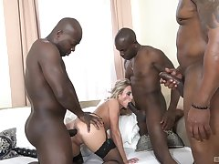 Blonde gangbanged added to jizzed like a whore