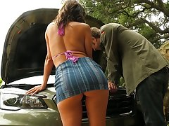 Busty MILF with a nice aggravation Alexis Fawx trades making love for car repairs