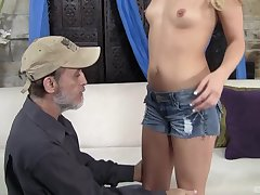 After wild sex Megan Sweet is aloft the brush knees waiting for a facial