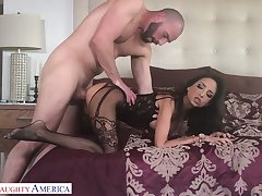 Horny lover enjoys licking added to fucking grungy pussy of sex-appeal babe in lingerie Bianca Burke